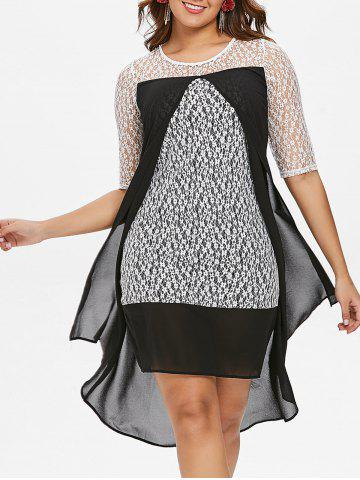 Discount Lace See Thru Chiffon Two Tone Dress