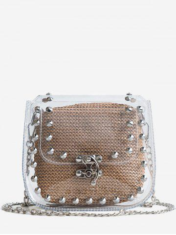 Cheap 2 Pieces Clear Studs Chain Crossbody Bag Set