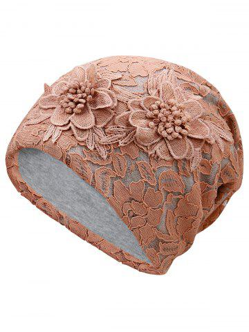 Sale Outdoor Floral Pattern Embellished Lace Beanie