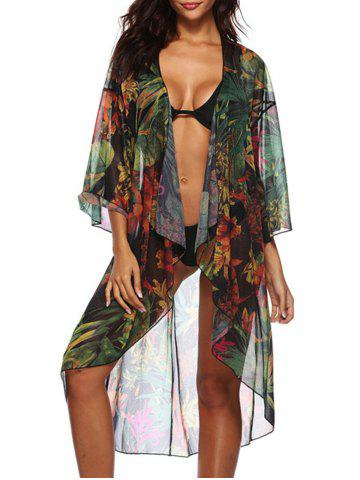 Online See Through Floral Print Cover Up