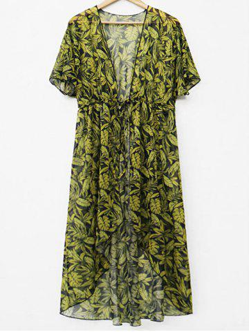 Chic Drawstring Waist Leaf Print Cover Up
