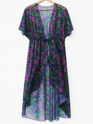 Outfit Drawstring Waist Leaf Print Cover Up
