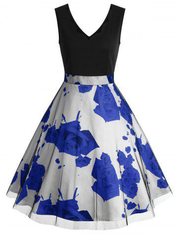 Fashion Rose Print Scalloped Sleeveless Vintage Dress