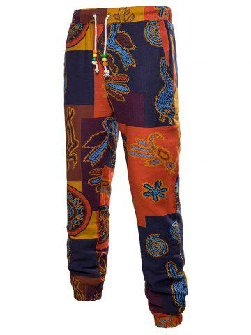 Unique Beads Decorated Drawstring Casual Jogger Pants