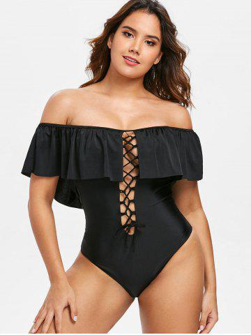 Lace Up Off Shoulder Swimsuit