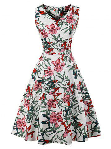 Store Retro Floral Leaves Print Flared Dress