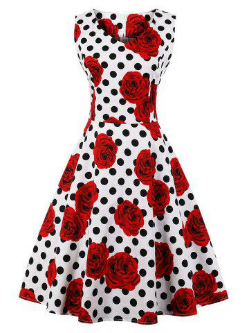 Buy Vintage Floral Polka Dot Skater Dress