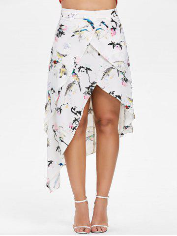 New Birds Print Layered High Low Skirt