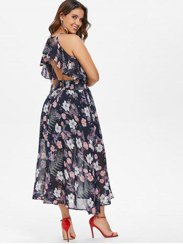 Floral Ruffle Backless Maxi Dress
