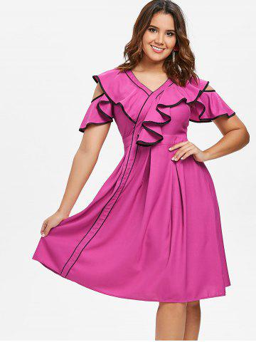 Contrast Frill Cold Shoulder Midi Dress