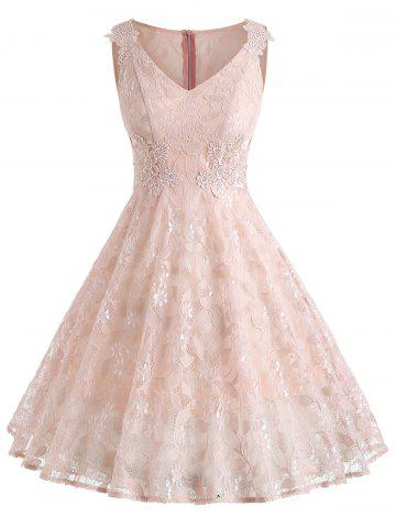 Affordable V Neck Floral Lace A Line Dress