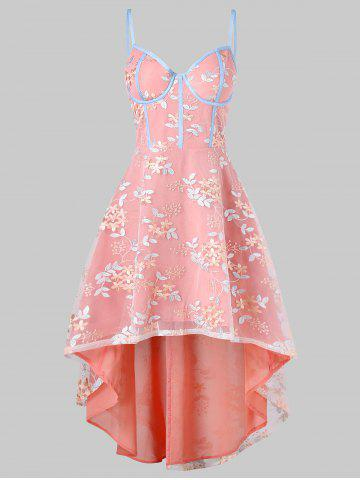 Embroidery High Low Flare Dress