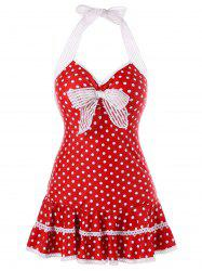 Halter Polka Dot One Piece Swimdress -