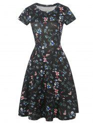 Floral Print Short Sleeve Fit and Flare Dress -