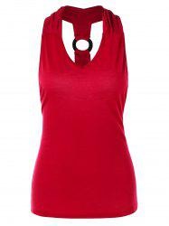 Cut Out O Rings Racerback Tank Top -