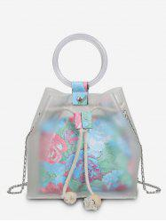 2 Pieces Floral Print Strings Chain Crossbody Bags -