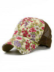 Floral Pattern Decorative Mesh Hip Hop Hat -