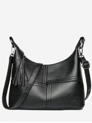 High Capacity Tassel Closure PU Shoulder Bag -