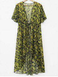 Drawstring Waist Leaf Print Cover Up -
