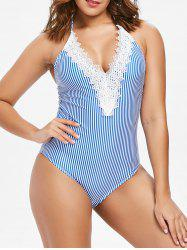 Lace Panel Striped Swimwear -