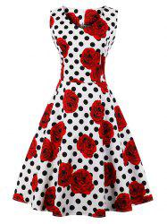 Vintage Floral Polka Dot Skater Dress -