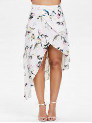 Birds Print Layered High Low Skirt -