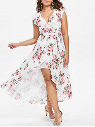 High Slit Floral Surplice Dress -