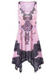 Lace Panel Handkerchief Hem Tank Dress -