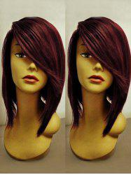 Short Side Bang Straight Colormix Party Synthetic Wig -
