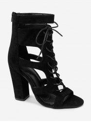 Chic Block Heel Ankle Strap Cut Out Sandals -