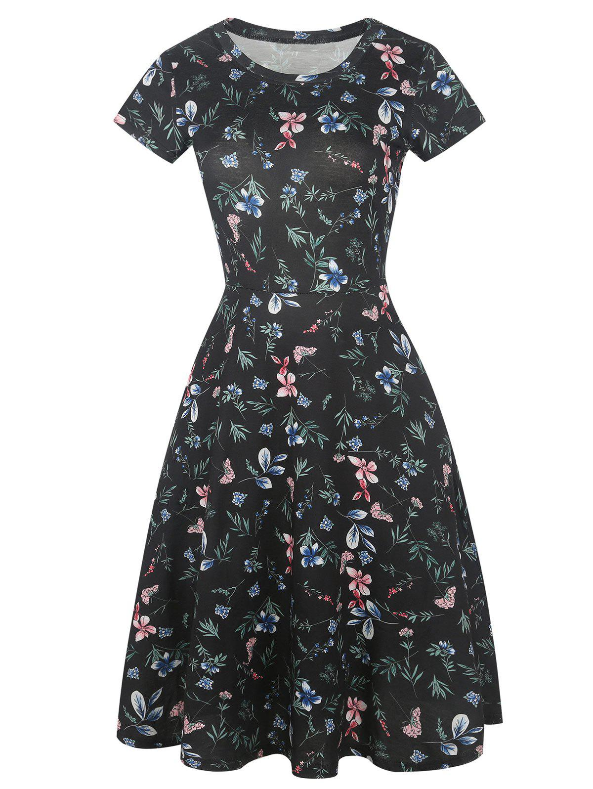 Cheap Floral Print Short Sleeve Fit and Flare Dress