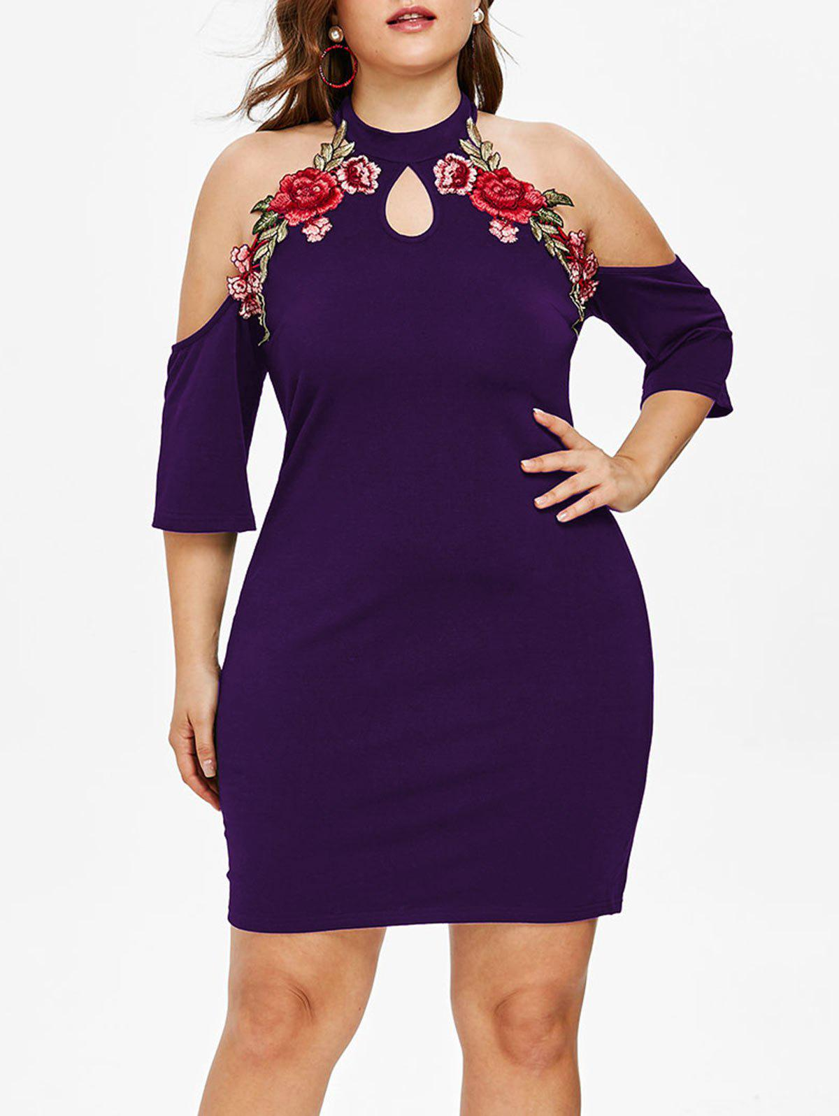 Affordable Plus Size Floral Applique Cold Shoulder Dress