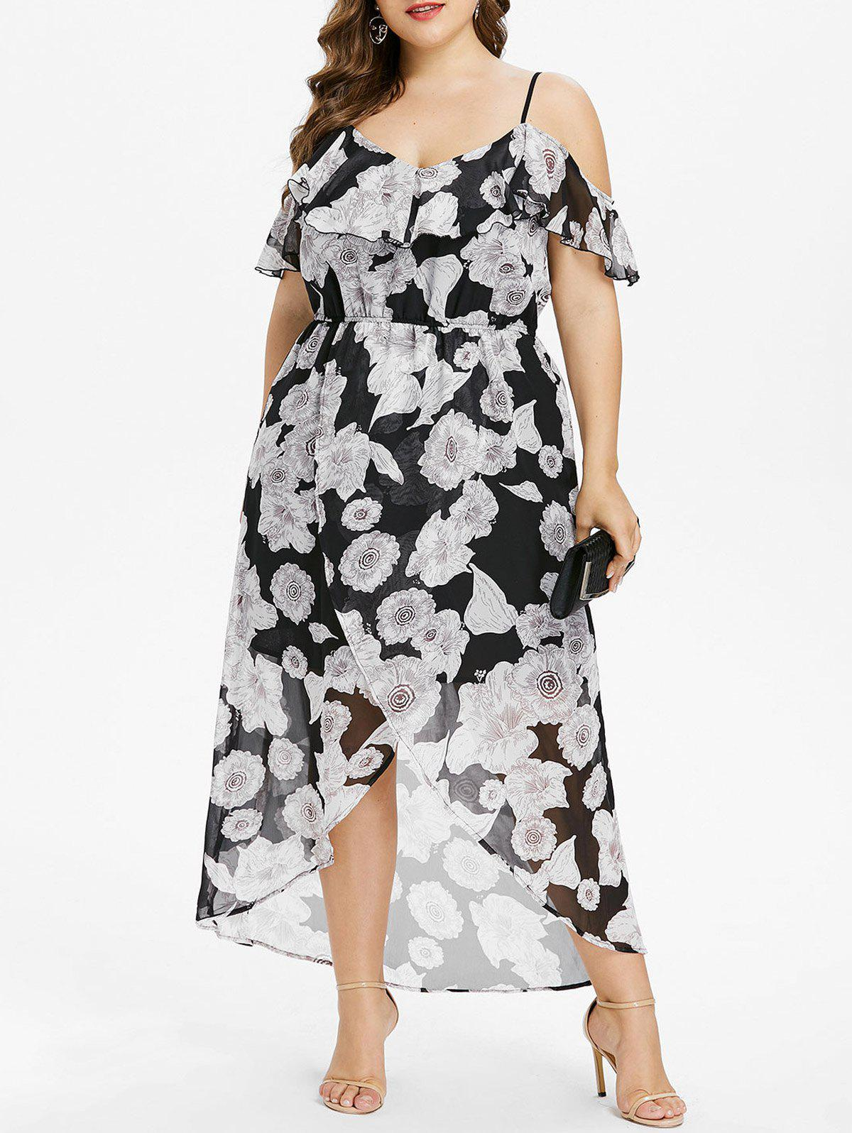 Shop Plus Size Ruffle Cold Shoulder Maxi Dress