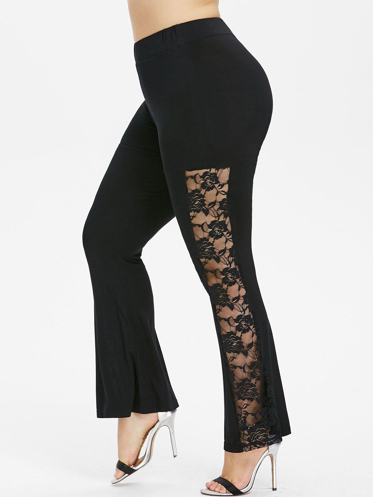 Sale Plus Size Sheer Lace Trim Flare Pants