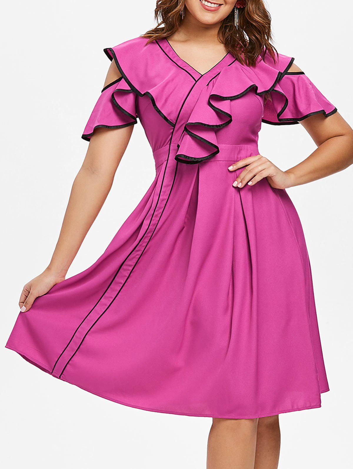 Shops Contrast Frill Cold Shoulder Midi Dress