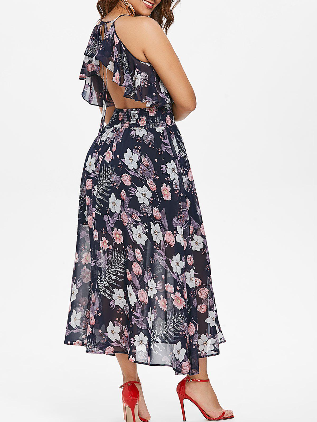 Fancy Floral Ruffle Backless Maxi Dress