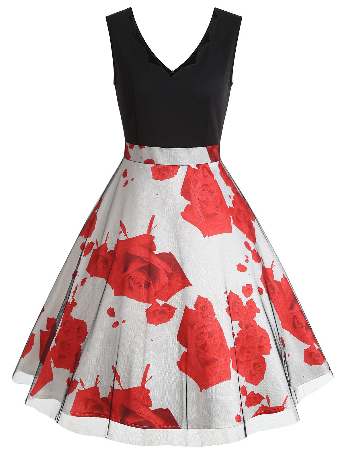 Unique Rose Print Scalloped Sleeveless Vintage Dress