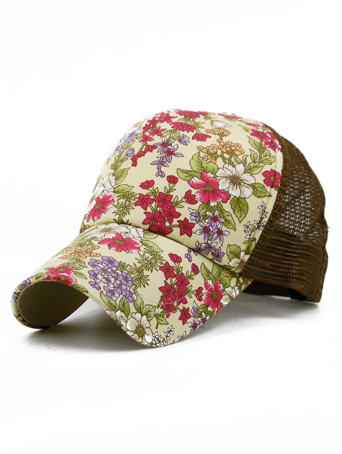 Trendy Floral Pattern Decorative Mesh Hip Hop Hat