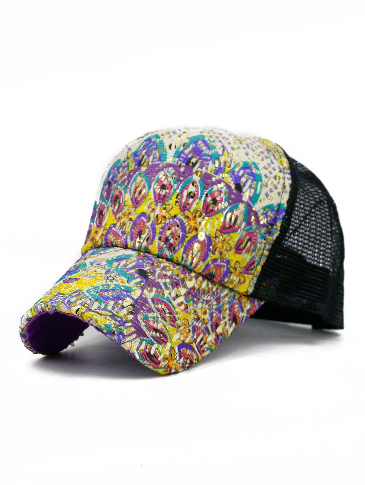 Best Peacock Tail Decorative Mesh Baseball Hat