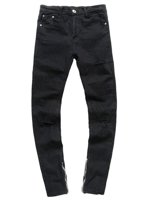 Fashion Zipper Hem Stretchy Rippped Jeans