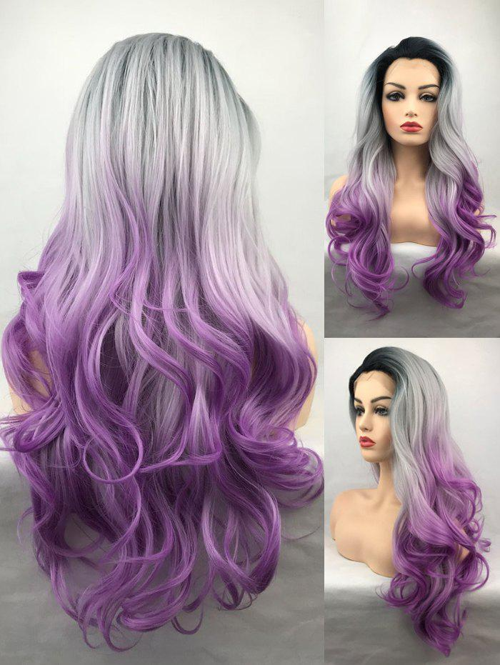 Latest Long Free Part Ombre Wavy Lace Front Synthetic Wig