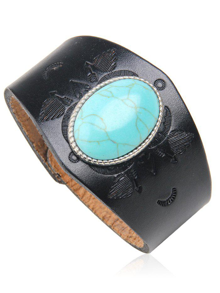 Trendy Ethnic Style Faux Turquoise Leather Bracelet