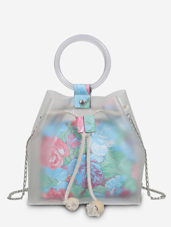 Chic 2 Pieces Floral Print Strings Chain Crossbody Bags