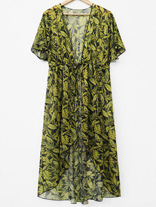 Unique Drawstring Waist Leaf Print Cover Up