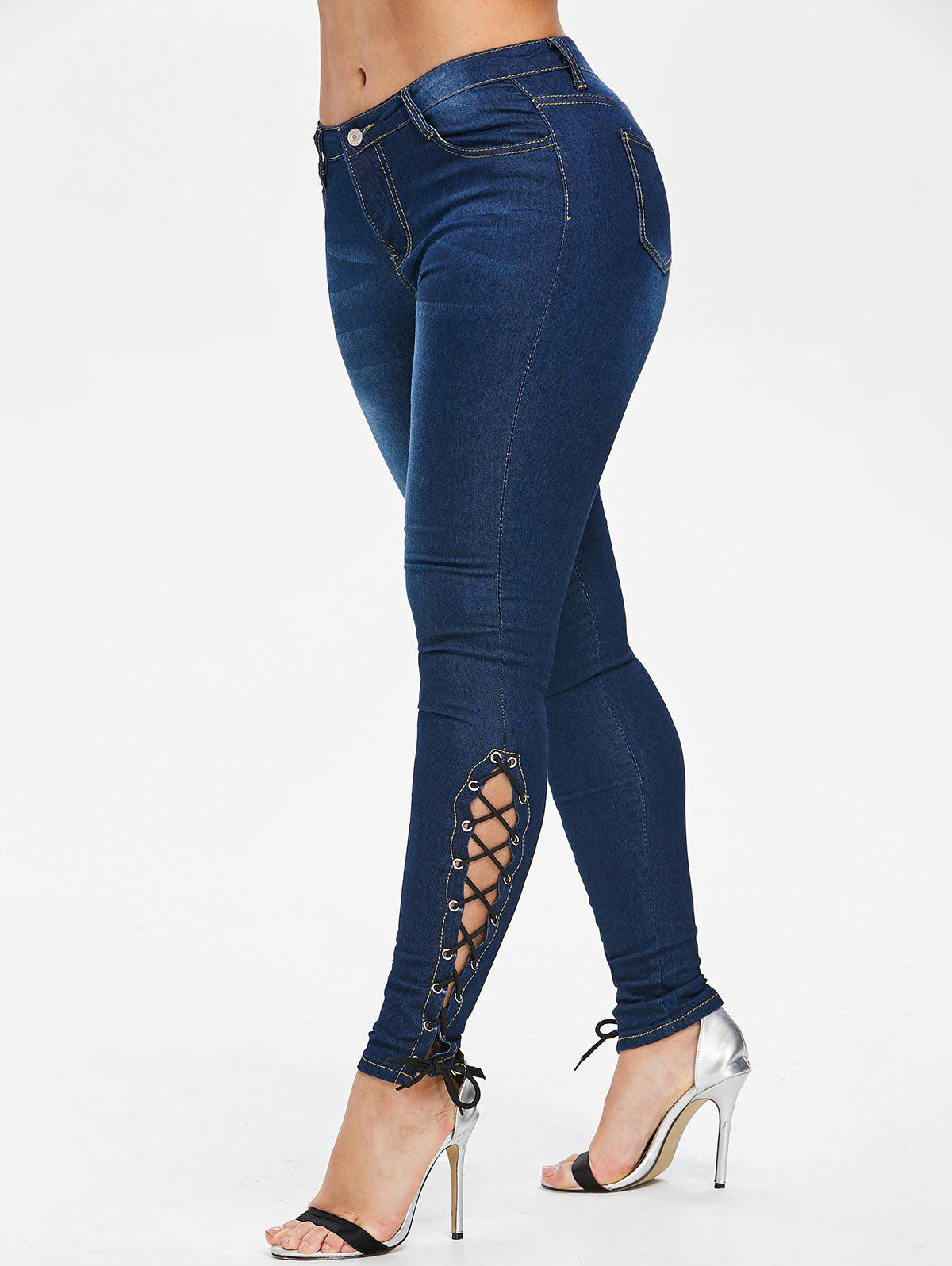 Buy Side Lace Up High Waisted Jeans