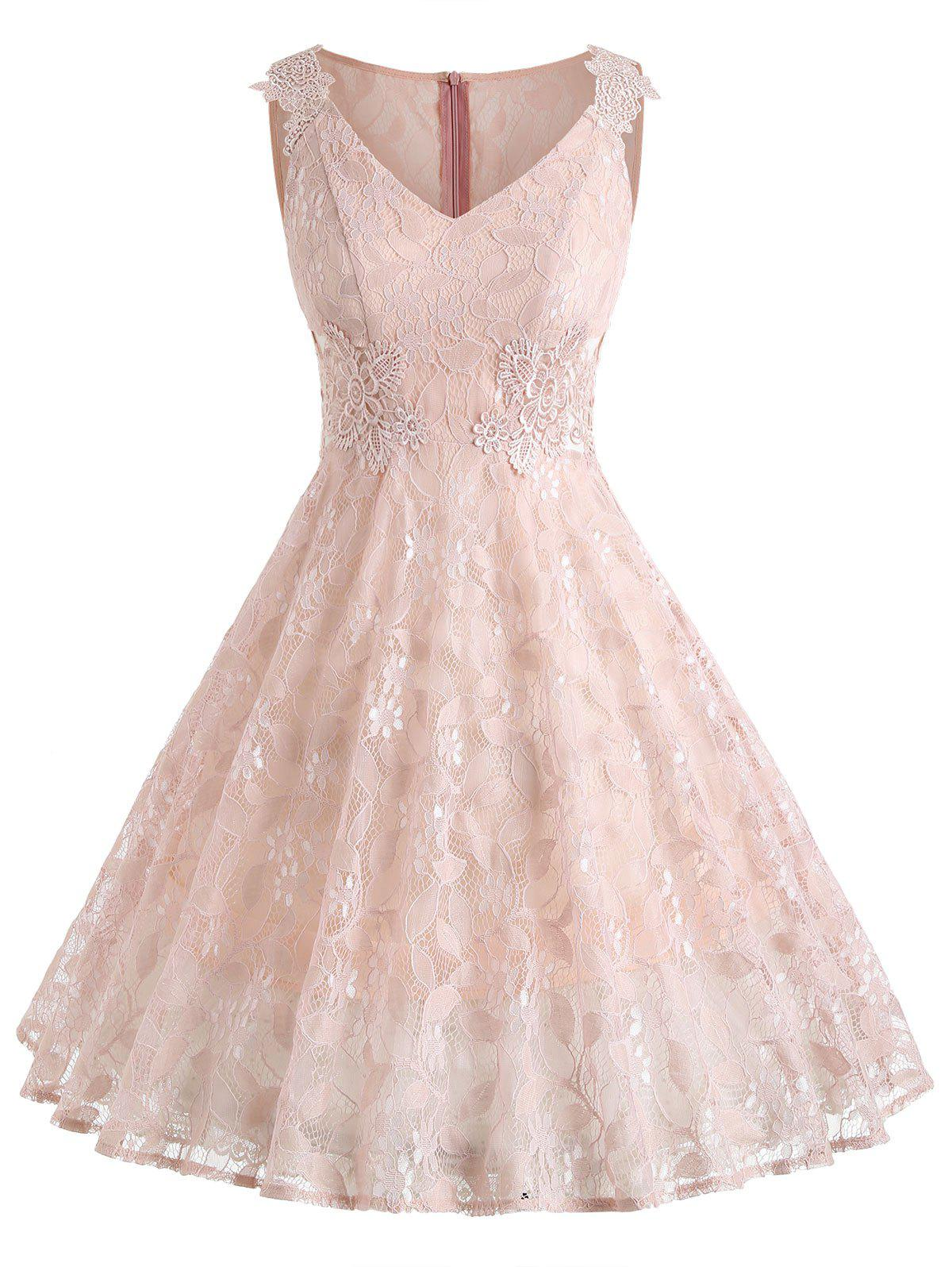 Best V Neck Floral Lace A Line Dress