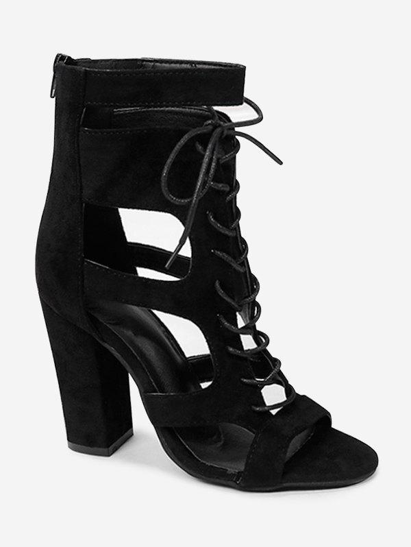 Online Chic Block Heel Ankle Strap Cut Out Sandals