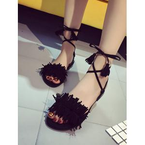 Flat Heel Ankle Wrapped Sandals -