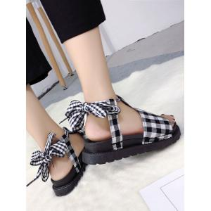Low Heel Open Toe Leisure Lace Up Sandals -