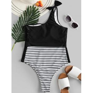 Bowknot Lace Panel Swimsuit -